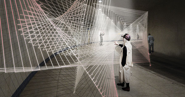 An artist's rendering of what an exhibition might look like in the Dupont Underground.
