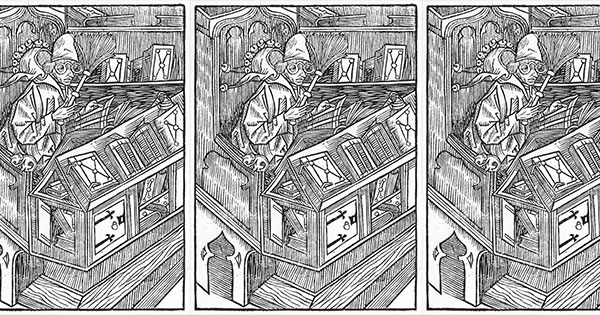 <em>The Book Fool</em> who collects books but learns nothing from them, from Sebastian Brant's <em>Das Narrenschiff</em> (Project Gutenberg)