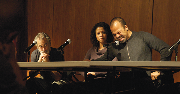 Panelists at a 2009 Theater of War event at New York's St. Vincent's Hospital perform Sophocles's <em>Ajax and Philoctetes.</em> (Photo by Paxton Winters)