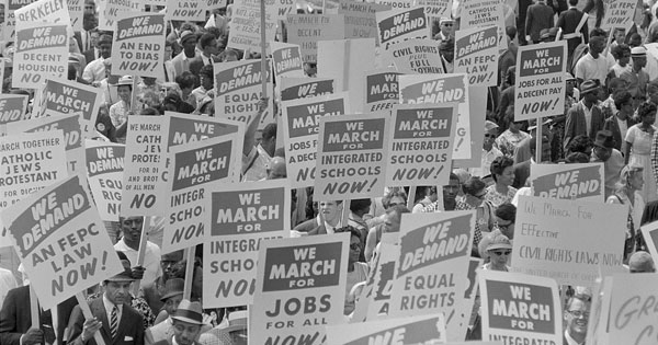 Demonstrators march on Washington in 1963. (Marion S. Trikosko/Library of Congress)