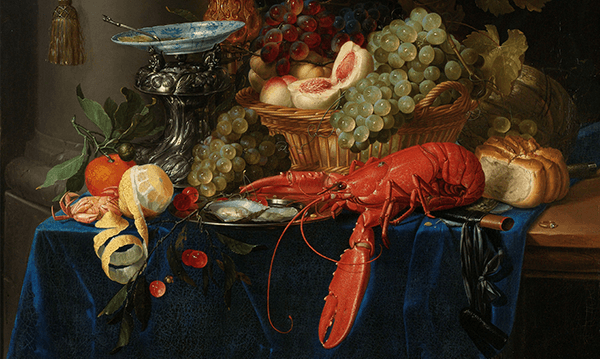 Detail of <em></noscript>Still Life with Golden Goblet</em>, Pieter de Ring, 1640–1660 (Rijksmuseum)