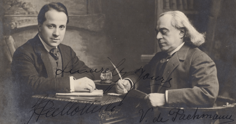 A postcard of Vladimir de Pachmann (right) with Francesco Pallottelli (Lenox Library Association)