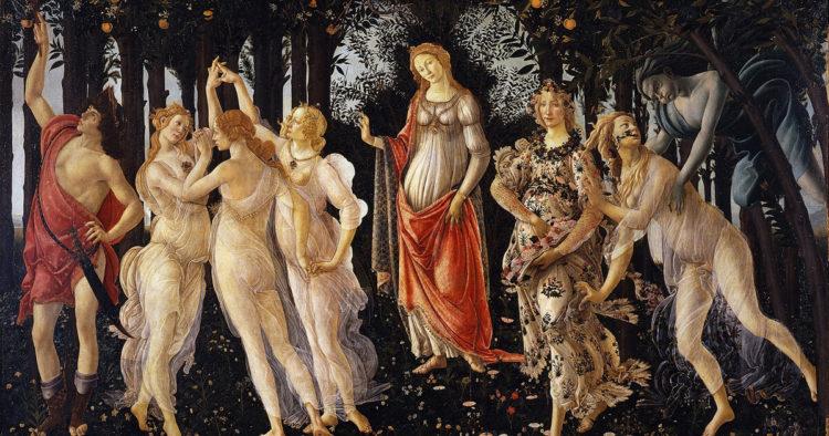 <em>Primavera</em>, Sandro Botticelli, late 1470s or early 1480s (Wikimedia Commons)