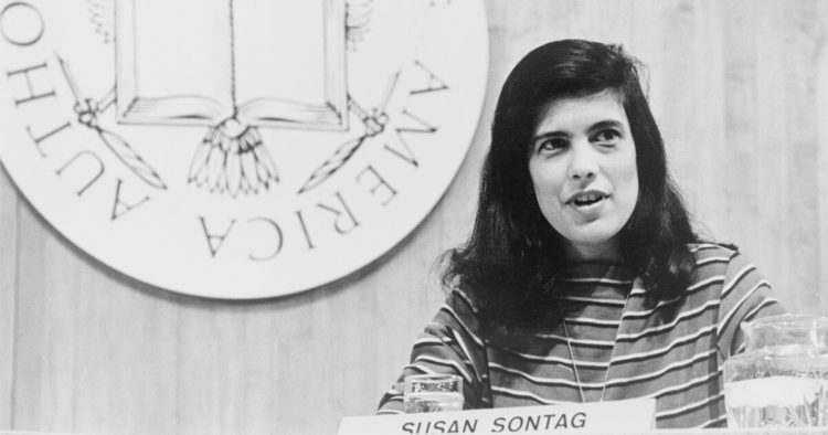 Black and white photo of Susan Sontag
