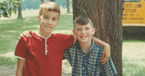 Owen: The author (left) and his pal John Ruth on their way to summer camp